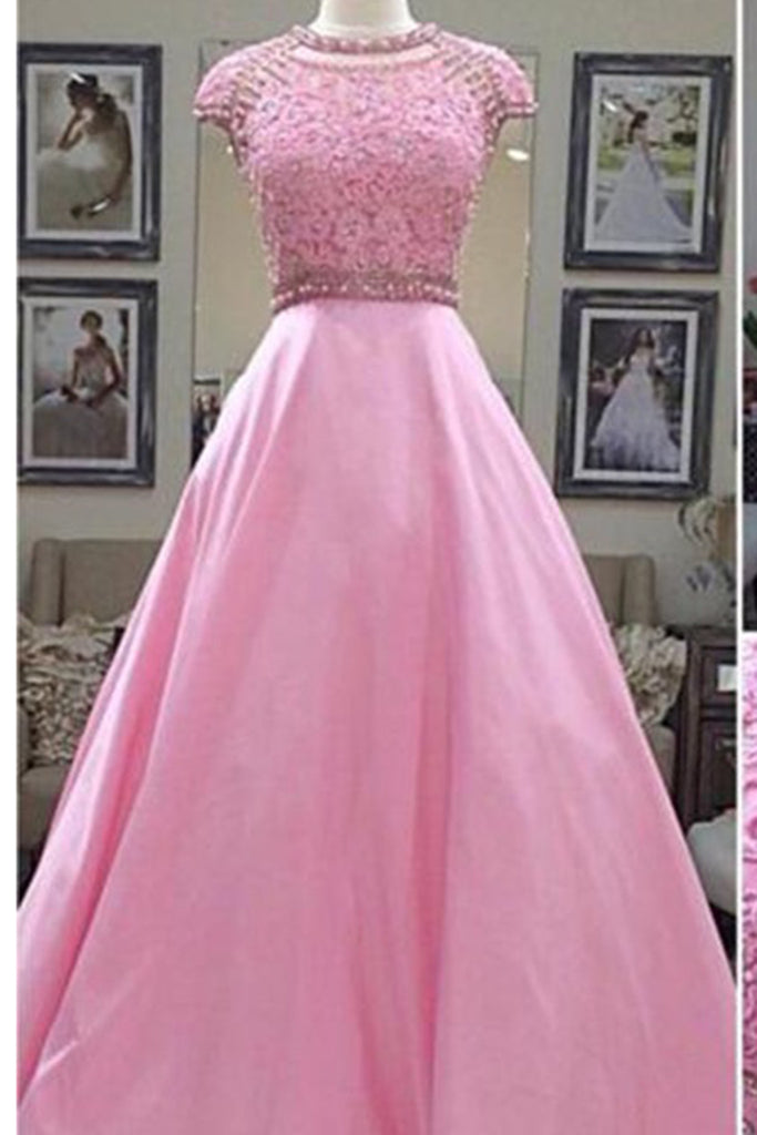 Prom 2020 | Pink chiffon sequins applique round neck cap sleeves A-line  long prom dresses,formal dresses