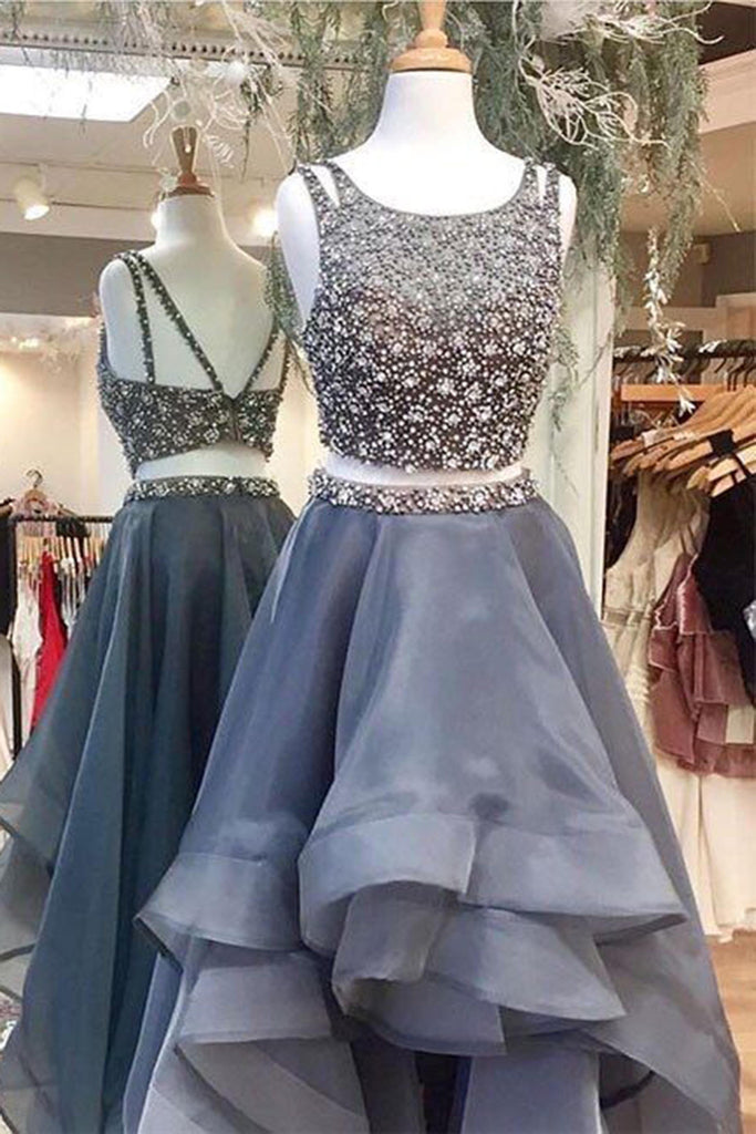 Gray organza beading two pieces A-line long evening dresses,formal dress - prom dresses 2018