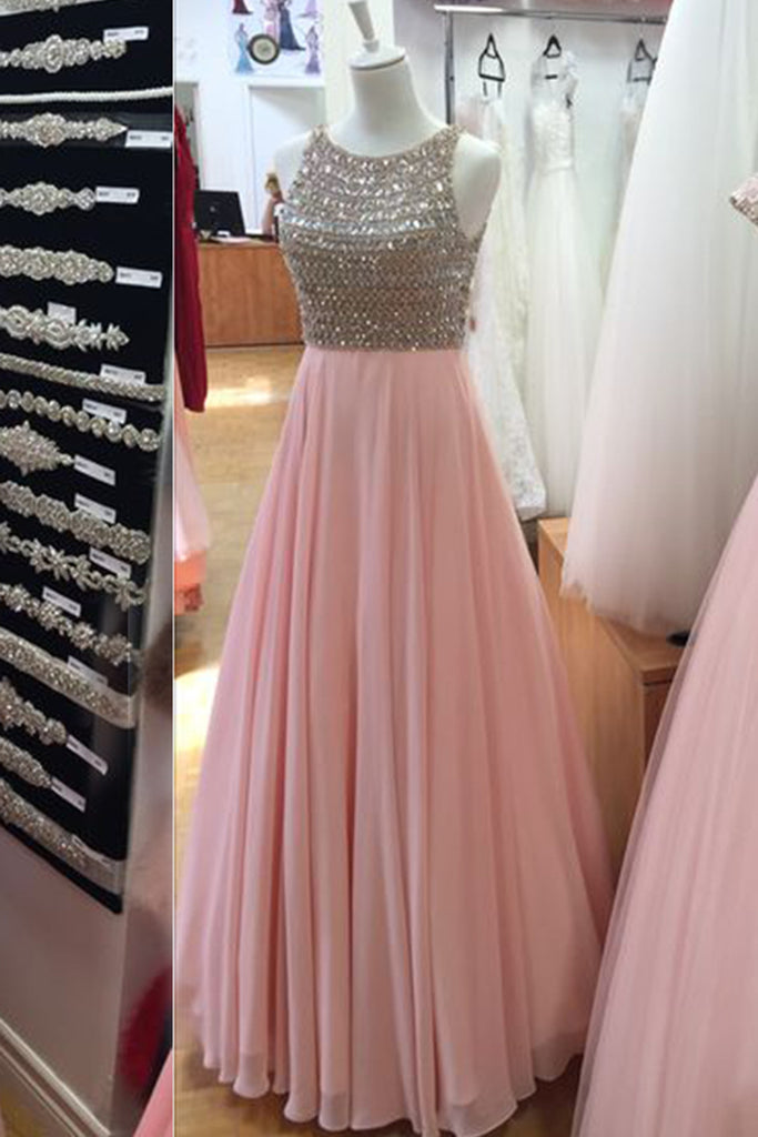 Sweet 16 Dresses | Pink chiffon sequins round neck long evening dresses,formal dress
