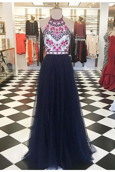 Sweet 16 Dresses | Dark tulle  round neck embroidery long evening dresses,formal dress