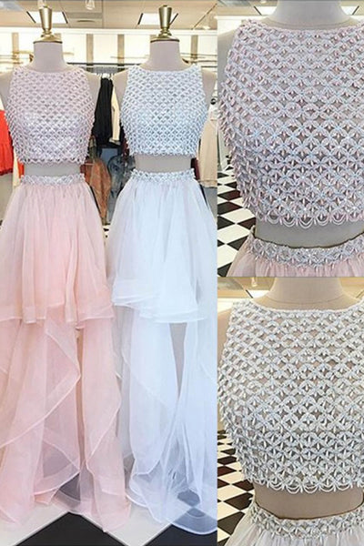 Cute tulle two pieces A-line long evening dresses,graduation dresses - prom dresses 2018