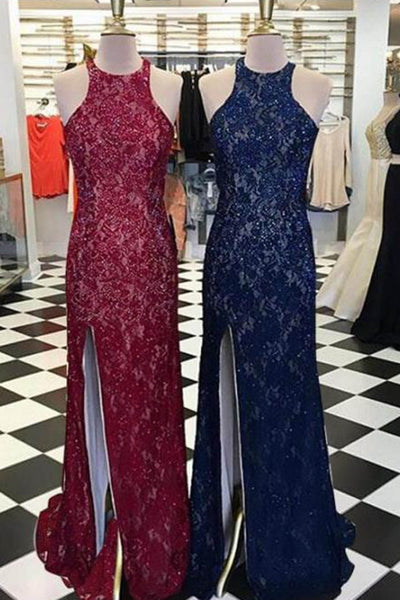 Lace slit round neck long dresses,long homecoming dresses for - prom dresses 2018