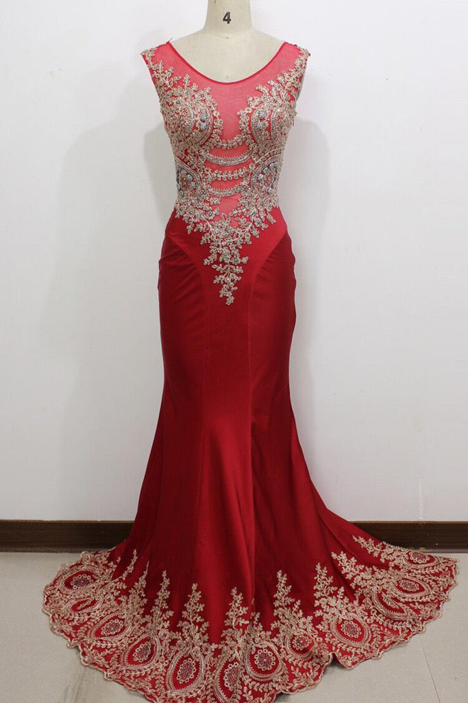 2018 evening gowns - Luxury red satins lace see-through round neck long evening dresses,formal dress