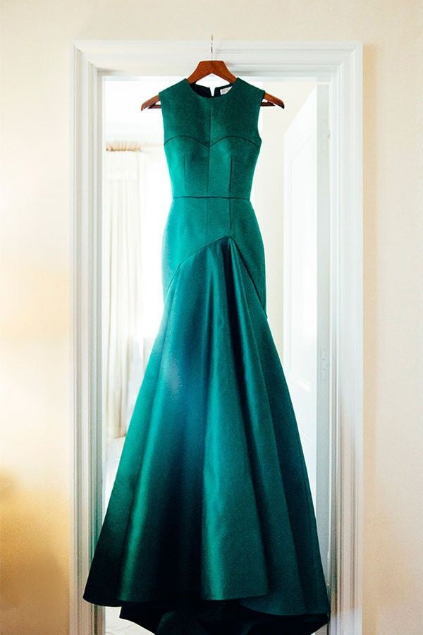 Sweet 16 Dresses | Green satins round neck simple long evening dresses,formal dress