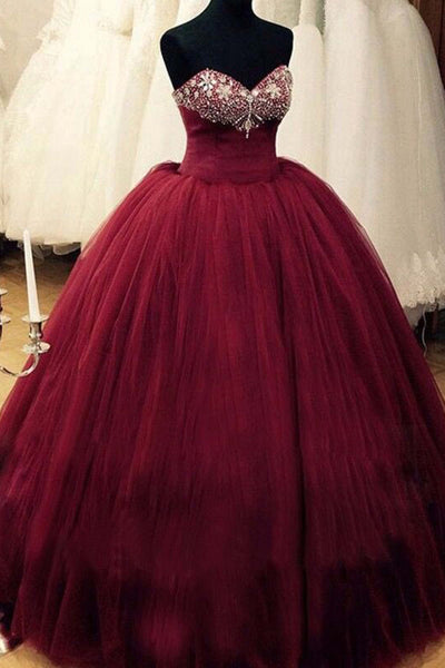 2019 Prom Dresses | Burgundy organza beading sweetheart long dresses,ball gown dress