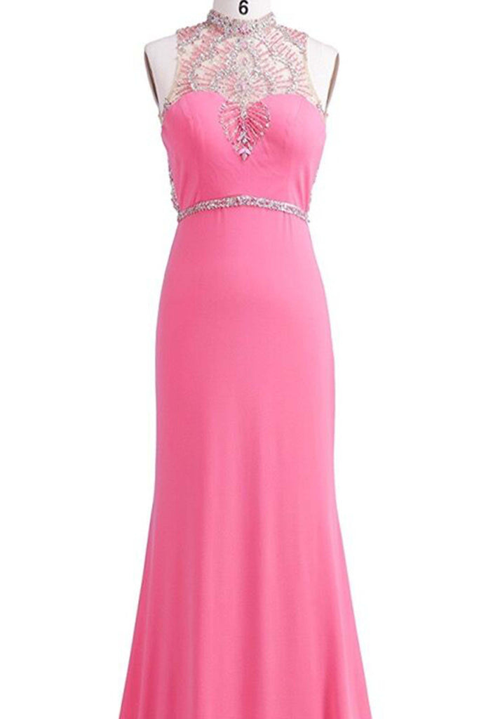 Sweet 16 Dresses | Pink chiffon round-neck sequins beading long evening dresses,prom dress