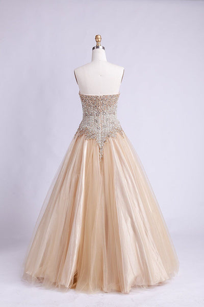 2019 Prom Dresses | Chamgne tulle beading sweetheart long dresses,straplss dress