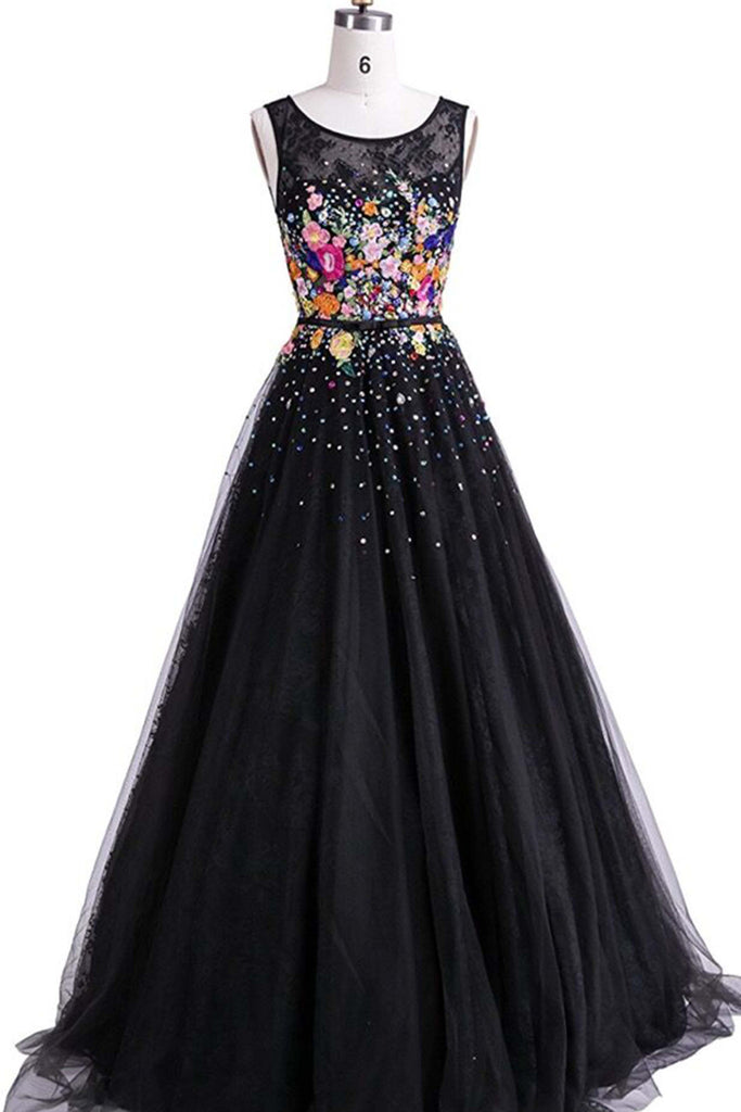 Cute tulle round neck flowers long dresses 8f731a339