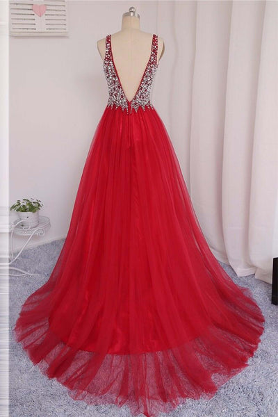 Red tulle V-neck beading rhinestone long dresses,luxury prom dress - prom dresses 2018