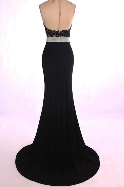 2019 Prom Dresses | Black chiffon halter sequins backless long dresses,evening dresses