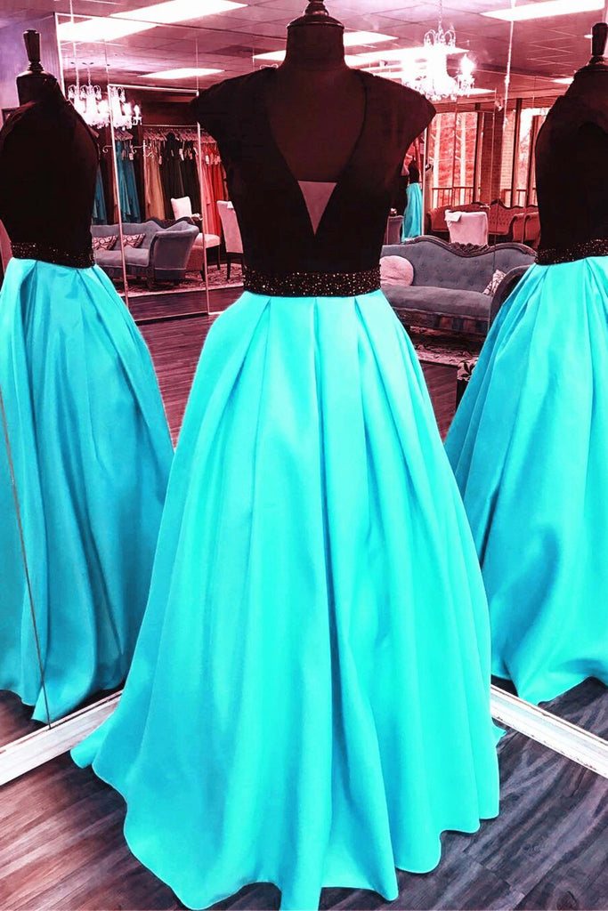 2019 Prom Dresses | Blue chiffon v-neck simple A-line long dresses,evening dresses for teens