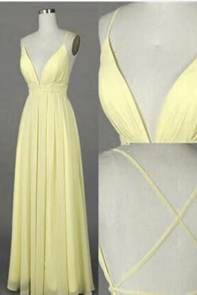 Sweet 16 Dresses | Yellow chiffon V-neck open back long dresses,summer dresses with straps