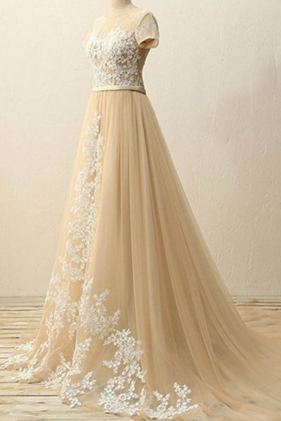 Champagne tulle lace round-neck long evening dresses,formal dress for prom - prom dresses 2018