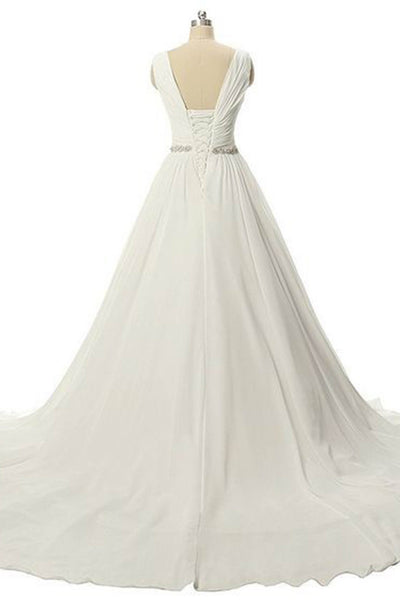 Sweet 16 Dresses | White chiffon V-neck long evening dresses,elegant formal dress for prom