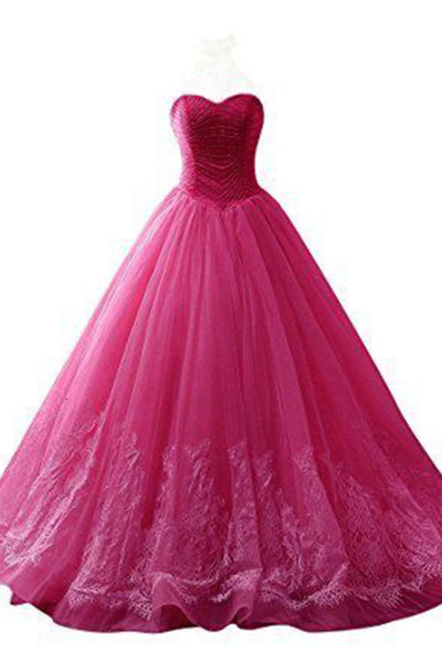 2018 evening gowns - Hot pink organza sweetheart lace applique ball gown dresses, formal dress for prom