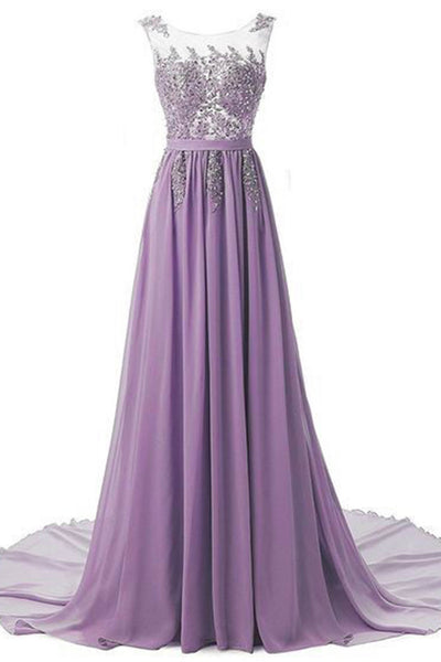 Sweet 16 Dresses | Elegant purple chiffon sequins beading long dresses, formal dress for prom