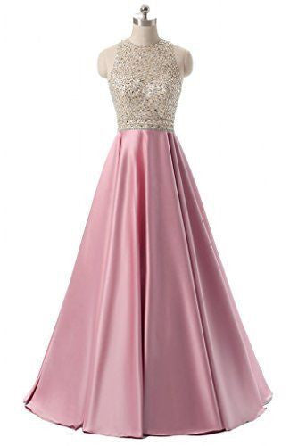 Sweet 16 Dresses | Pretty pink satins sequins A-line long dresses, formal dress for prom