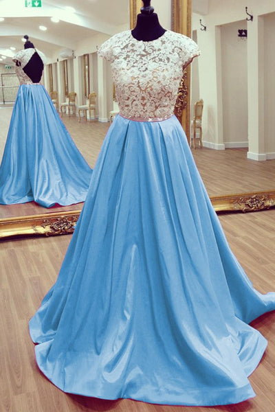 Sweet 16 Dresses | Light blue chiffon lace top backless A-line long dresses,prom dresses cap sleeves