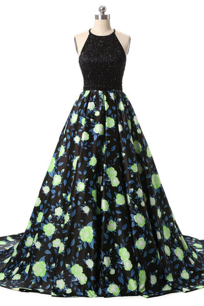 Black beading printing A-line long dress for prom ,evening dress