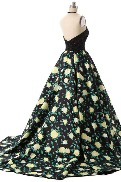 Black beading printing A-line long dress for prom ,evening dress - prom dresses 2018