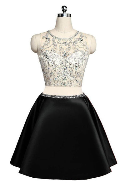 2019 Prom Dresses | Black satins two pieces O-neck see-through A-line short dresses,casual dresses