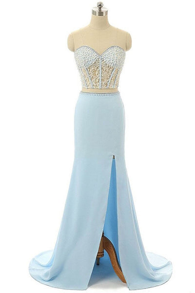 2018 evening gowns - Light blue chiffon sequins beading sweetheart slit long dresses,casual dresses