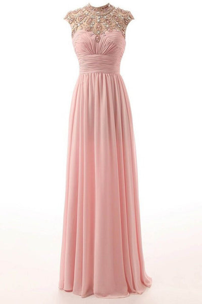 Pink chiffon sequins beading O-neck long dresses,evening dresses - prom dresses 2018