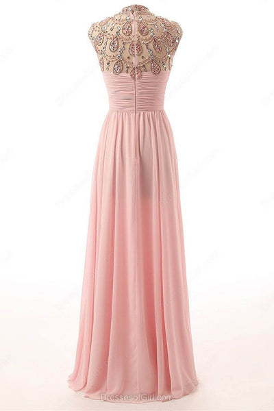 Sweet 16 Dresses | Pink chiffon sequins beading O-neck long dresses,evening dresses