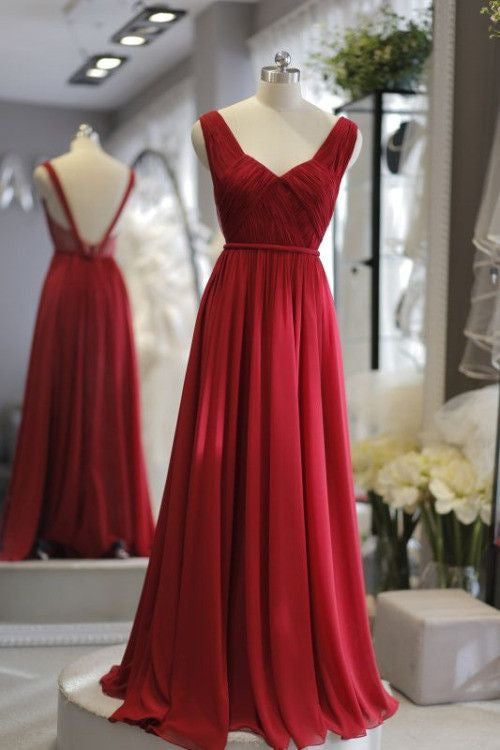 Sweet 16 Dresses | Red chiffon open back simple long dresses,evening dresses