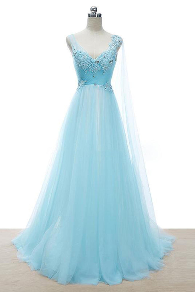Light blue tulle sequins lace V-neck A-line long  dresses ,evening dresses - prom dresses 2018