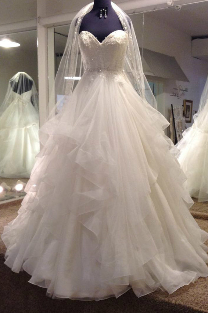 White tulle sweetheart ball gown wedding dress,beautiful wedding ...