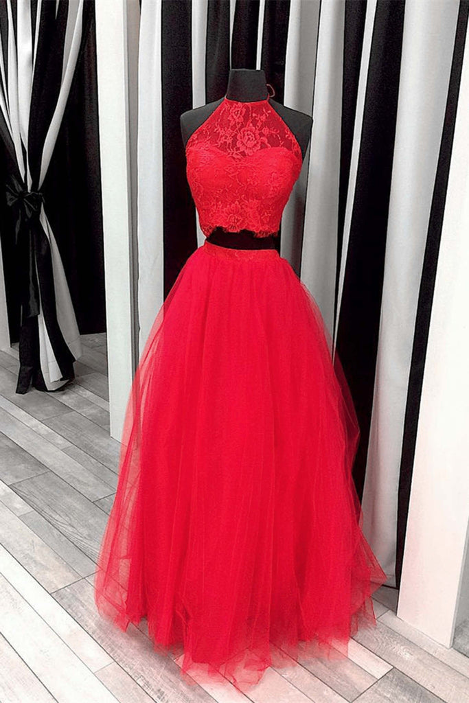 Red tulle two pieces lace O-neck A-line long dress,graduation dress - prom dresses 2018
