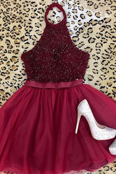 Sweet 16 Dresses | Red tulle sequins halter short dress,cute A-line mini dress for teens