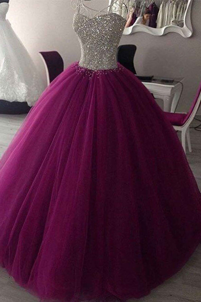 Rosy purple tulle sequins sweetheart ball gown dresses,graduation ...
