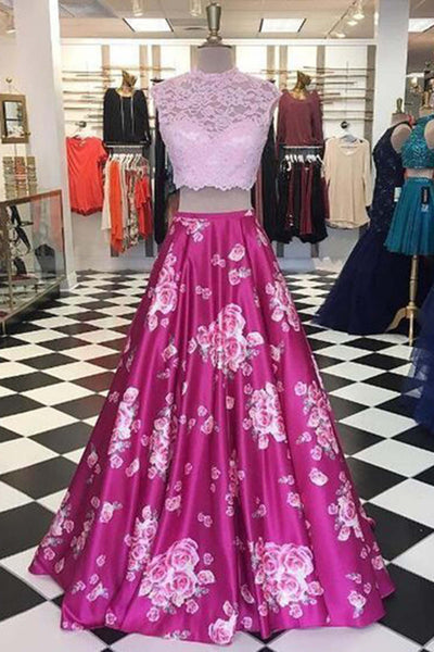 Sweet 16 Dresses | Rosy satins printing dress,two pieces lace long sleeves dresses