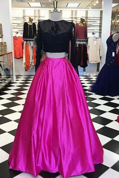 Sweet 16 Dresses | Rosy satins two pieces black mesh top long sleeves A-line dresses