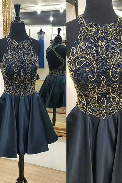 2018 evening gowns - Black satins sequins beading round neck short dresses,party dresses