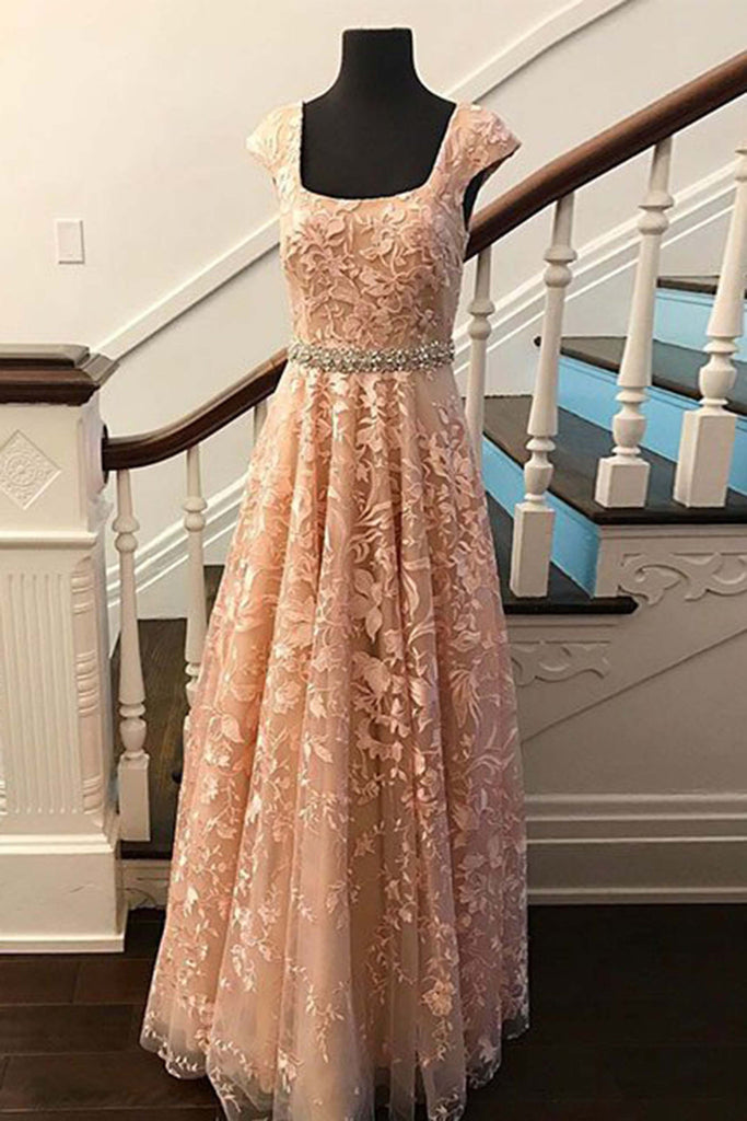 Elegant tulle applique round neck A-line long dresses,prom dresses