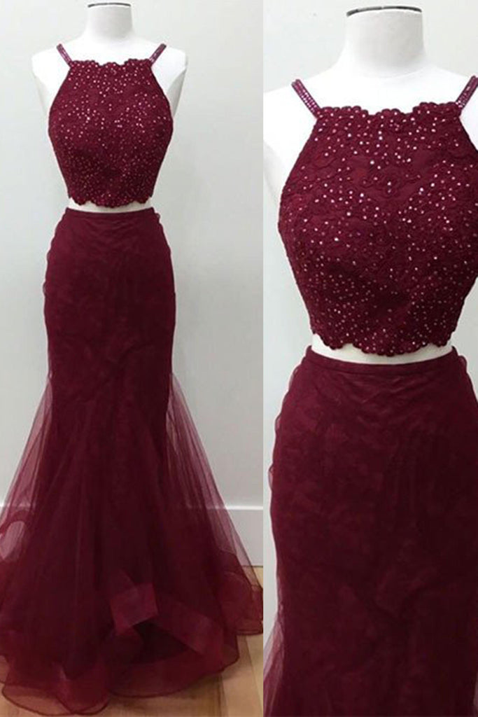 Crimson tulle two pieces sequins long dress,graduation dress for teens