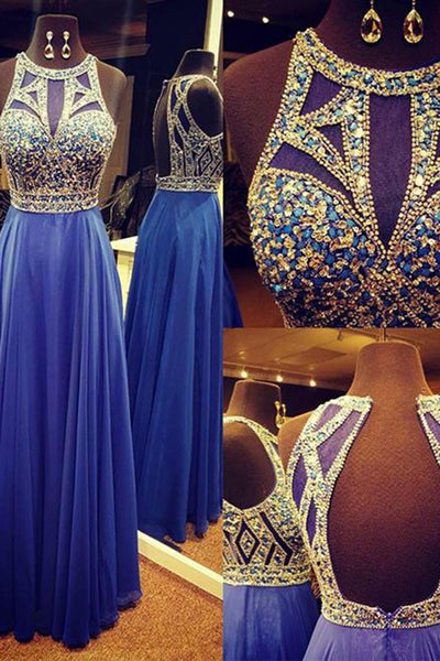 2018 evening gowns - Blue chiffon beading round neck long dresses,graduation dress for teens