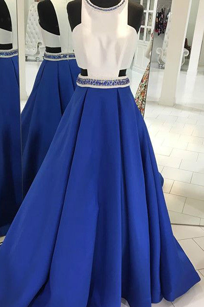 White&blue satins chiffon beading round neck A-line long dresses - prom dresses 2018