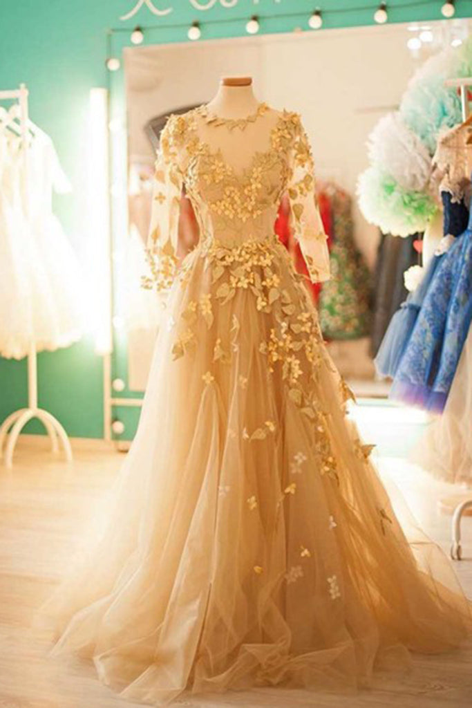 Champagne tulle round neck long sleeves applique handmade long dresses - prom dresses 2018