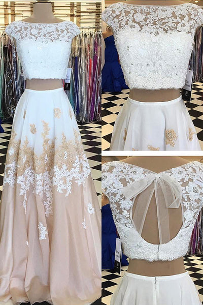 2019 Prom Dresses | Champagne chiffon white lace two pieces applique handmade long dresses