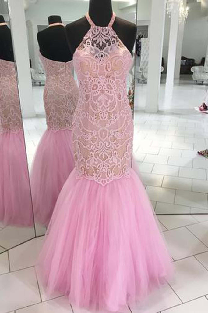 2018 evening gowns - Pink tulle lace halter mermaid dresses,formal dresses for prom