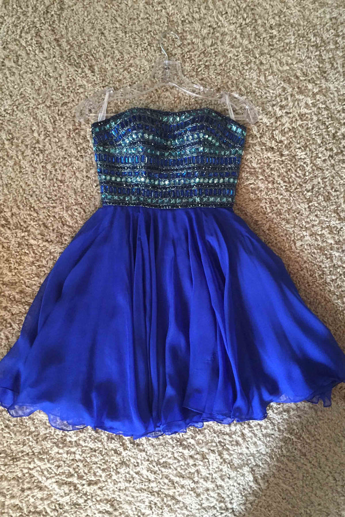 2019 Prom Dresses | Cute blue chiffon sweetheart short dresses,beading rhinestone handmede dress