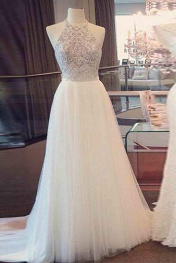 White tulle lace O-neck A-line long dresses, prom dresses - prom dresses 2018
