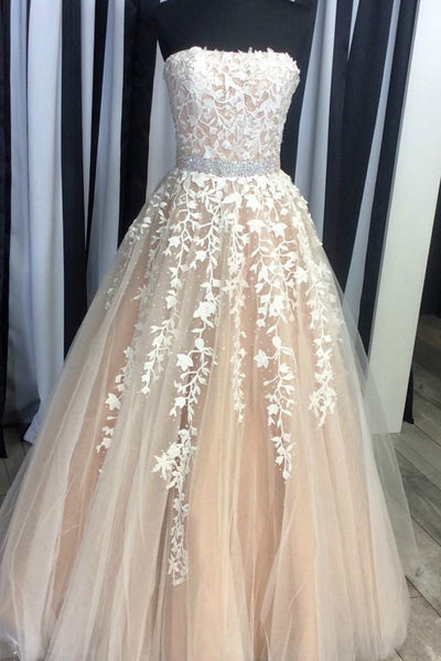 Champagne tulle lace sweetheart A-line long dresses,prom dress