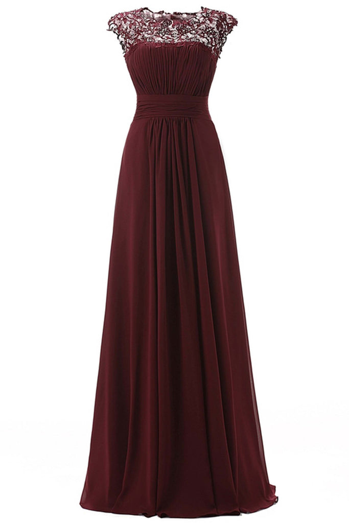 Crimson chiffon lace round neck see-through long dresses,prom dress