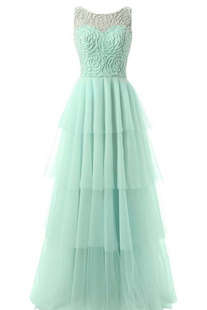 2018 evening gowns - Mint chiffon round neck see-through long evening dresses,prom dress
