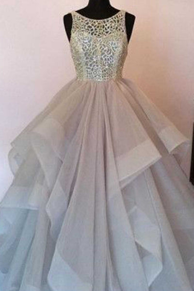 Sweet 16 Dresses | Tulle A-line lace round neck open back dresses,long prom dresses